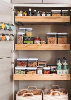 Small Kitchen Counter Space Ideas - The first step is to put together ideas on what you need your new kitchen to appear to b Kitchen Shelf Design, Small Kitchen Organization, Small Kitchen Storage, Pantry Storage, Kitchen Shelves, Kitchen Interior, New Kitchen, Organized Kitchen, Pantry Organization