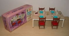 Little Hostess Dining Table and Chairs with Accessories for Dolls by Marx, Doll Furniture, Dollhouse Furniture, Barbie Kitchen, Play Kitchens, Sindy Doll, Dining Table Chairs, Vintage Dolls, Miniatures, Houses