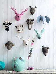 Gezellige dierenkopjes voor aan de wand. #verwendeapen #kidsdepot #accessoires #kinderkamer #dierenkopjes