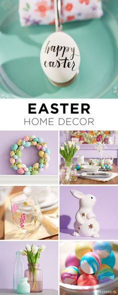 Whether you go all out or add a few select decorations, find the perfect Easter decor for your home. Featured product includes: Food Network plates, mixing bowl and deviled egg tray; egg wreath; stemless wine glasses; bunny basket; egg tree; placemats, bunny statue; and bubble glass vases. Have a happy Easter with Kohl's.