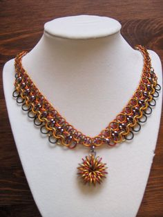 Phoenix Fire chainmaille Necklace with Nova Star by Linklord, $20.00