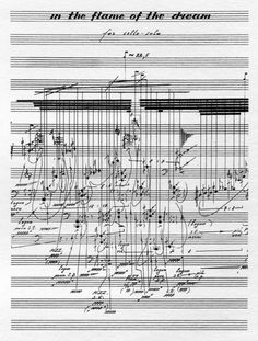Vadim Karassikov – In the Flame of the Dream, for cello solo, graphic scoreA graphic score by Russian composer   Vadim Karassikov (b.1972),   In the Flame of the Dreamconsists of a collection of pieces for solo instrument which can be performed in combination with each other, and was premiered by Klangforum Wien ensemble in Vienna in 2008 [+info]