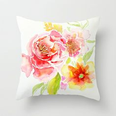 Spring Flowers - Watercolor Throw Pillow