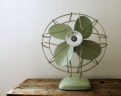 Vintage Green & Gold Mid-century Fan by Electrohome, Working Condition, Industrial Decor on Etsy, $85.00