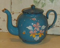 Vintage French Enameled Teapot ~ Blue with Painted Relief Flowers ~ Very Old