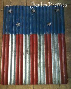 Hand Painted Flag. Painted on corrugated metal with metal stars.