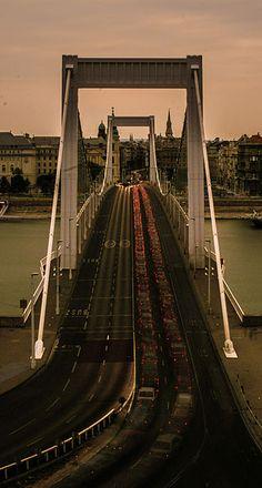 Erzsébet híd (Elisabeth Bridge / Elisabethbrücke / Pont Élisabeth) Budapest City, Elisabeth, Brooklyn Bridge, Golden Gate Bridge, Travel, Bridge, Viajes, Destinations, Traveling