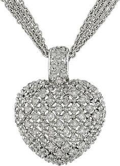 1 Carat Diamond Heart Necklace w/ Sterling Silver