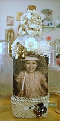Idea: use the vintage style pic of Emily to decorate an old bottle.