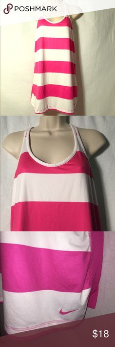 Nike Dri-Fit Pink & White Striped Tank Cute Nike Racer Back slim fit tank. In excellent condition! Worn once! Front is 88% Polyester 12% Spandex. Back is 100% Polyester. Nike Tops Tank Tops