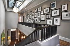 Long hallway gallery wall