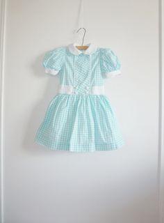 Vintage Aqua Girls Dress
