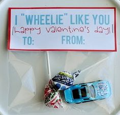 Fun valentines for kids! http://colorfulcreativeideas.com/2011/02/i-wheelie-like-you-valentine-free-download/