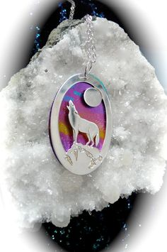 wolf jewelry pendant animal totem wolf by MoonHeartStudios on Etsy