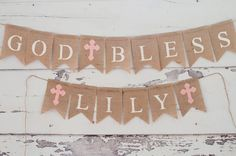 Its a blessed day, share it with this beautiful Religious Banner. Perfect for a Baptism, First Holy Communion or Confirmation. Perfect to hang in a babys room, the options are endless. God Bless and your choice of name. Just include the name for the banner in the notes when checking out. Cost is based on the number of letters / characters in your name.  Count out the letters and then select from the drop down menu to the right. ******************************************* D E T A I L S **...