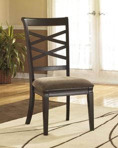 Hayley Dark Brown Dining Upholstered Side Chair (Set of 2) (D480-01)   Ashley