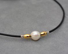 Corto di onice nero e bianco perla collana con argento 925