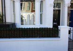Front Garden Garden Wall Metal Rails Victorian Mosaic Tile Path Slate Paving London - London Garden Blog