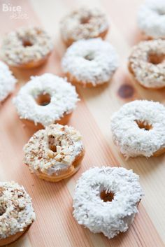 Mini baked donuts with coconuts cream & nuts with chocolate