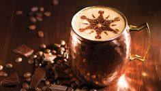 THE SPICY MONK: variation on spiced Mexican hot chocolate gets a boost from chili chocolate and caramel Lindor truffles Chocolate Chili, Lindt Chocolate, Mexican Hot Chocolate, Moka, Lindor, Espresso Coffee, Beverages, Drinks, Moscow Mule Mugs