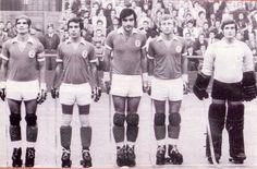 Benfica. Livramento (capitão), Jorge Vicente, Garrancho, Casimiro e Ramalhete.