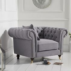 Holbrook chesterfield sofa chair in grey linen with wooden legs, this luxurious sofa chair will become real focal point in any home decor - 38017 modern, contemporary fabric armchair sofa, wingback & mid-century. Living Room Sofa Design, Living Room Grey, Living Room Chairs, Living Room Decor, Dining Room, Lounge Sofa, Sofa Chair, Upholstered Chairs, Grey Armchair