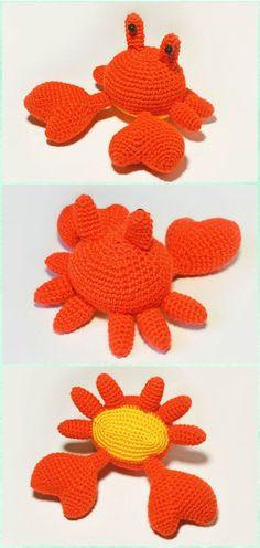Crochet Amigurumi Mr. Crab Free Pattern - Amigurumi Crochet Sea Creature Animal Toy Free Patterns