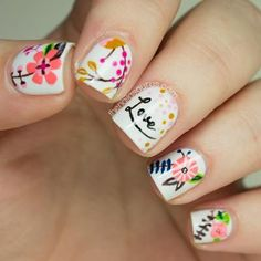 Make pretty flowers and vines your own with this nail art tutorial! #nails #nailart