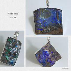 Boulder Opals minimalistically set in 925 silver ... @ Peninnah Opals 👷🏻♀️