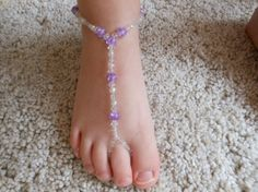 Barefoot Sandals Beach Baby Foot Jewelry Girl Beads Crystal Lavendar