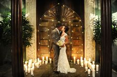 The x-metre high main doors at Villa Botanica were hand-carved in Bali over X months. Image: Iconic Bride Photography. I want this photo!