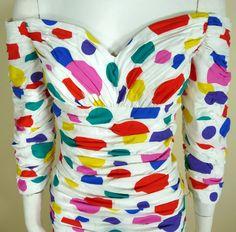 Arnold Scaasi - Robe de Cocktail à Pois Multicolore - Soie - Années 80