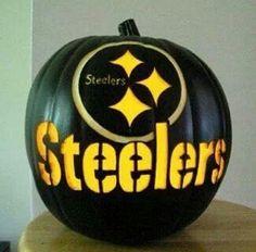 Black Carved Pittsburgh Steelers Pumpkin by purpleinkgraphics Pitsburgh Steelers, Here We Go Steelers, Pittsburgh Steelers Football, Pittsburgh Sports, Steelers Helmet, Steelers Stuff, Steeler Nation, Football Season, Pumpkin Carving