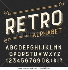 Retro Alphabet Vector Font Serif Type Letters Numbers And Symbols On A Dark