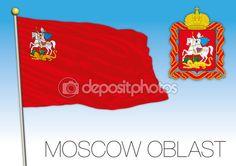 Bandiera della Oblast di Mosca, russia — Vettoriali Stock © frizio #124754452