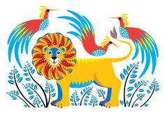 #Tinga #lion #bird #illustration by @illustrator_eye