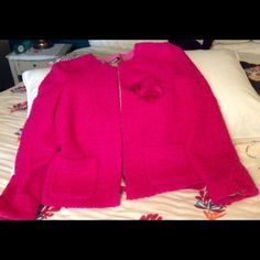 HP Fuscia J.Crew Jacket Bright pink jacket perfect for Spring.  Hits just below waist.  NWOT J. Crew Jackets & Coats