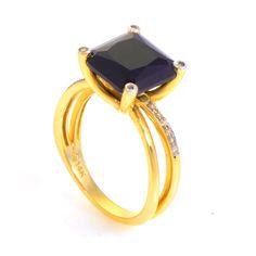 Gold Onyx & Diamond Ring, Women's