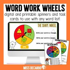 Word Work Wheels are a fun way to spice up your word work centers- without the prep! Word Work Wheels can be used with ANY word list such as sight words, spelling lists, phonics or word family patterns, or vocabulary words! They require little to no prep, and they keep students engaged in practicing...