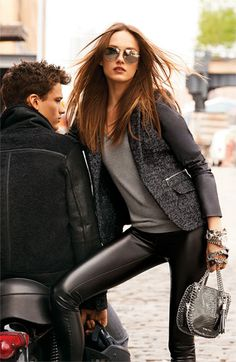 MICHAEL Michael Kors Jacket, Sweater & Leggings - inspiration look - try CAbi fall Ricky Legging,layering turtleneck and sleeveless blazer add the fingerless Fleather gloves for a little edge
