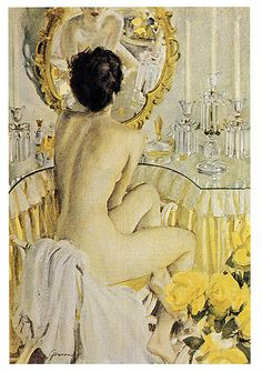 John Gannam...#mirror #figurative painting | Lemon yellow inspiration, home decor, vintage fashion, collectibles, DIY, flower garden, salvage www.rubylane.com