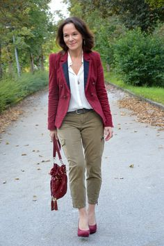 Lady of Style. A Fashion Blog for Mature Women. Burgundy & Olive - great color combo for fall!