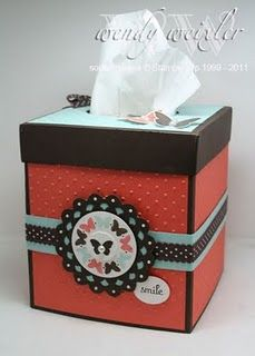 Custom tissue box cover. #stampinup  I like the color combo on this.  I might have to try the colors on a card.