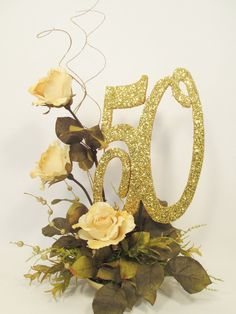 Anniversary Centerpiece with Roses or other year – Designs by Ginny 50th Wedding Anniversary Decorations, Wedding Anniversary Invitations, Golden Wedding Anniversary, Anniversary Parties, Anniversary Ideas, Homemade Wedding Gifts, 50th Birthday Party, Sister Birthday, Birthday Gifts