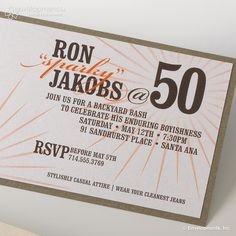 50th Birthday Invitations. $5.75, via Etsy.  Carrie - I could create something similar with StoryBook Creator ...