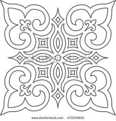 Geometric Islamic Pattern Arabesque grey and white.