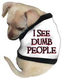 Pet Tease I See Dumb People Dog Tank Large White ** You can find out more details at the link of the image.