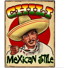 Chili Mexican Style Retro Kitchen Sign Small   Tin Signs  ... ($15) ❤ liked on Polyvore