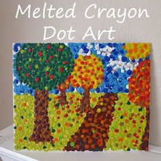 melted crayon dot art to go with the book, the dot.