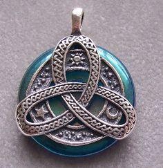 aqua aura donut pendant | Celtic Knot Sterling Silver Pendant with Aqua Aura Quartz